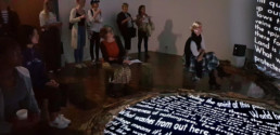 Installation Wetland Wander with audience, quotes, Gold Coast, Griffith University